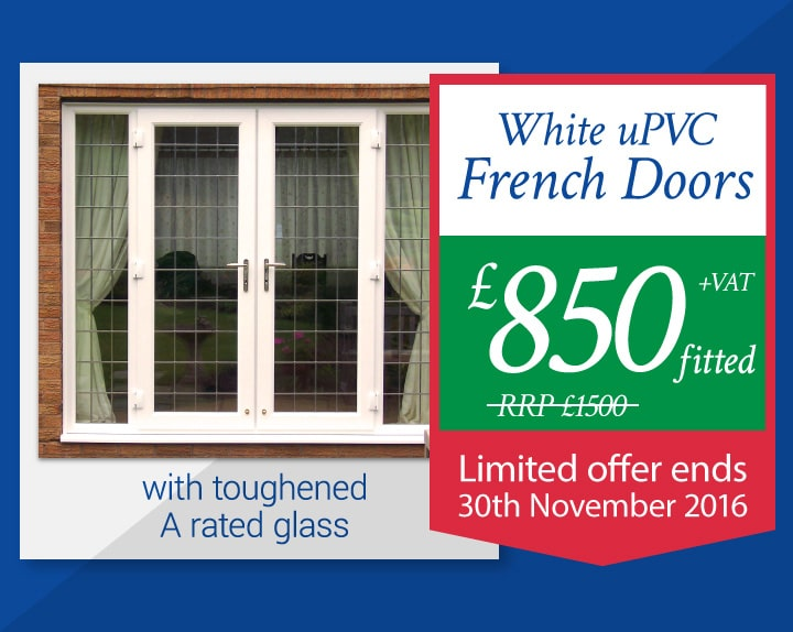 White uPVC French Doors fitted for £850 + VAT