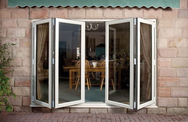 white bi-folding upvc doors