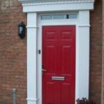 red composite door with surround