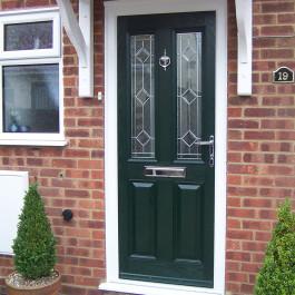 Dark green Composite Door with over door canopy