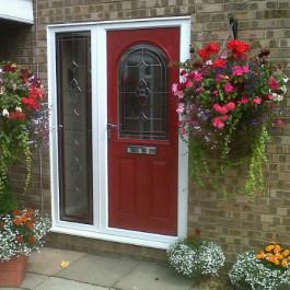 Red Composite Door with side panel