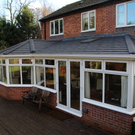 white conservatory with equinox roof