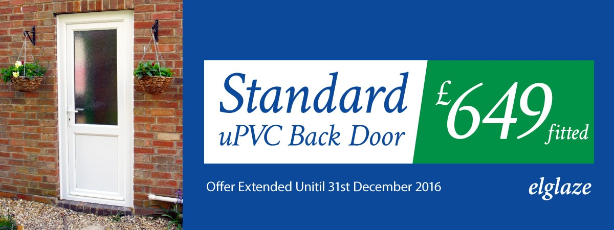 Standard upvc back door for 649 inc vat fitted for Back doors fitted