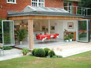 Bi-fold doors on a conservatory
